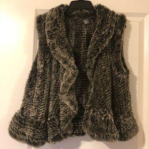 NWT Saks Rabbit Fur Vest with Waterfall Edges